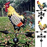 feeilty Metallo Banderuola con Cast Iron Gallo Ornamento Gallo Segnavento del Giardino del Patio Decor