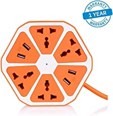 Azacus Hexagon Socket Extension Board with 4 USB 2.0Amp Charging Point