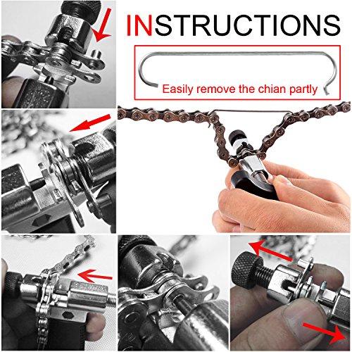 MTURE Werkzeug Kettennietdrücker,Kettennieter für Fahrrad Ketten Entferner Werkzeug, schwarz - 5