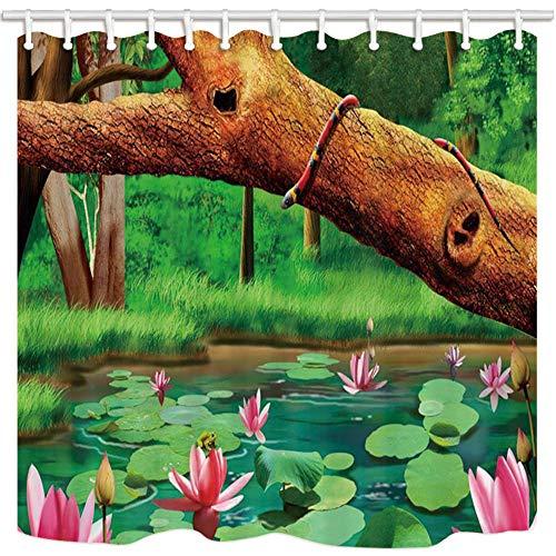 AdaCrazy Natural Scenery Shower Curtain by Boskage Teich Lotus Frosch Viper Auf Baum Bole Bad Mehltau Resistant Polyester Stoff Wasserdicht Duschvorhang Set Mit Haken 71X71in