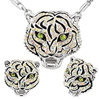 Luxury Unique Tiger Head 18k Gold/Platinum Plated Necklace&Earrings Jewelry Sets For Women or Men Gift S20187-w
