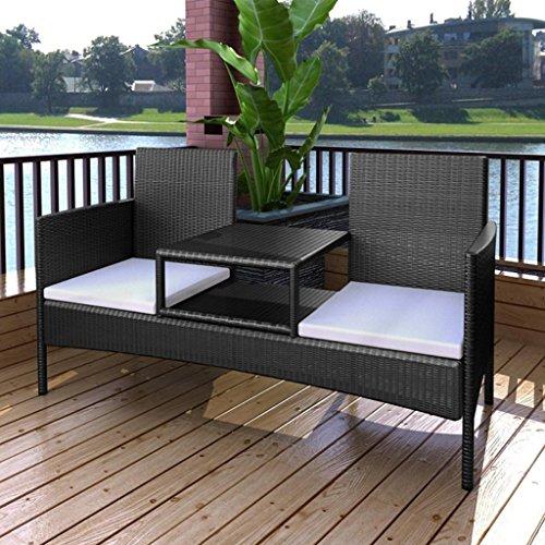 Festnight Polyrattan Bank mit Teetisch Rattanbank Gartenbank Outdoor Sitzbank für zwei Personen ideal für Terrasse Garten – Schwarz - 2