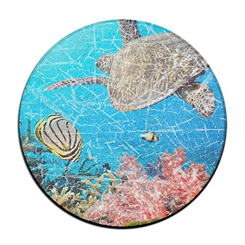 Tortuga de mar y peces mar vida antideslizante alfombrillas Circular alfombra alfombrillas comedor dormitorio alfombra Felpudo 23.6pulgadas