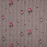 Fabulous Fabrics Glencheck Gestickte Rosen - braun -