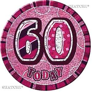 Gifts 4 All Occasions Limited SHATCHI-690 - Insignia de 60 cumpleaños con purpurina, color rosa