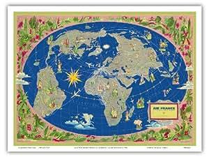 carte plan du monde planisph re air france le plus grand r seau du monde planisph re. Black Bedroom Furniture Sets. Home Design Ideas
