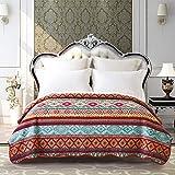 ENCOFT Quilt Tagesdecke 100% Baumwolle Bettüberwurf Steppdecke Patchwork Bettdecke (200 x 230 cm, Rot)