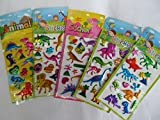 5 x small sheets of dinosaur, T-Rex, Animals, Cars, Insects, Bugs, Fashion Stickers for kids Girls boys, craft, scrap books, card making, gift party bags (5 x Dinosaur Stickers)