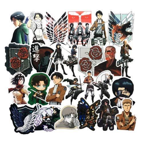YLGG Japanischen Anime Angriff auf Titan Mikasa levi eren Aufkleber für Telefon gepäck Laptop Fahrrad Aufkleber Spielzeug Aufkleber für Kinder 50 stücke