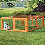 Glazed Pine Rectangular Outdoor Run with Roof - Stable Wire Grid and with Hinged Fence Roof - Gives Pets Ideal Protection from Birds of Prey and Cats