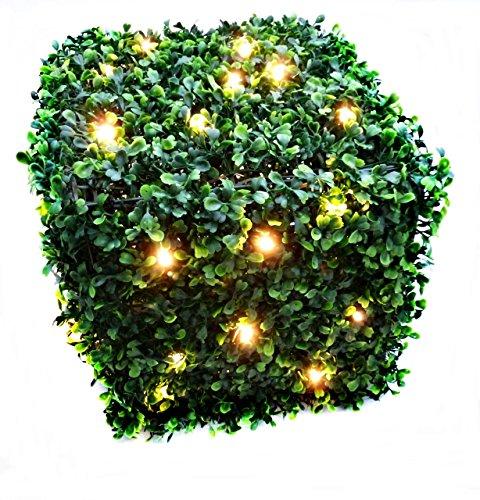 Hellum 350272 LED Buchsbaum Würfel Seitenlänge 30 cm, mit 40 warm-weiß LED\'s, inklusiv Trafo