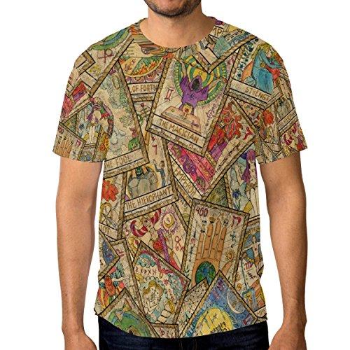 ALAZA Hombre Manga Corta Cartas de Tarot de la Vendimia Ocasional de la Camisa de Cuello 3X-Grande Multi