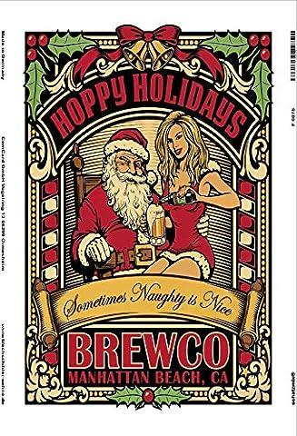 Hoppy Holidays Sexy Frau mit santa Brewco Bier reklame metal sign, retro, schild aus blech