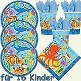 49-teiliges Party-Set * OCEAN BUDDIES * mit Teller + Becher + Servietten + Deko // für 16 Kinder // Meere Fische Ozean Tiere Kindergeburtstag Geburtstag Mottoparty Luftballons