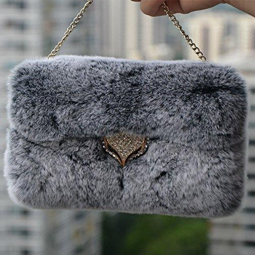 Youmai(TM) Extreme Deluxe Bling leder Diamond Crystal Kette winzige diamant Fuchs Winter Soft Warm Fell Tasche Hülle Haut für Samsung Galaxy S6 Edge (Fuchs-kaninchen Echte)