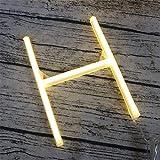 DUBENS LED Neon Nachtlicht, 0-9 Nummer 26 Buchstabe Licht Leuchte Alphabet Beleuchtung Nachtlichter, Batterie/USB Powered, für Schlafzimmer Weihnachtsfeier Hochzeit Dekorationen (H)
