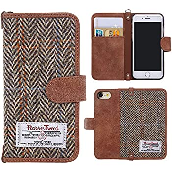 iPhone 7 Case Cover, iPhone 8 Flip Leather Wallet Case Genuine [ Harris Tweed ] Folio Book Cover with 2 Card Holder and 1 Cash Slots, MONOJOY Premium iPhone 8 Screen Protector Case with [Kickstand Function] [Magnetic Closure] [Keyring], Stylish, Retro,Handmade (iPhone 7 / 8, Brown)