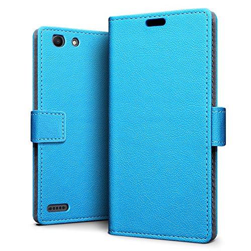 SLEO Vodafone Smart E8 Hülle, Leder Case PU Ledertasche Magnet [Vollständigen Schutz] Flip Case mit Standfunktion Kartenfächer im Bookstyle für Vodafone Smart E8 - Blau