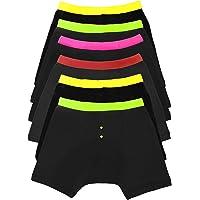 Sock Stack Mens Boxer Short Black Neon Waitsband Boxers Plain Cotton Stretch Boxershorts Underwear, 6 Pairs