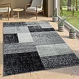 Paco Home Designer Wohnzimmer Teppich Modern Kurzflor Karo Design Grau Schwarz Weiß, Grösse:240x340 cm