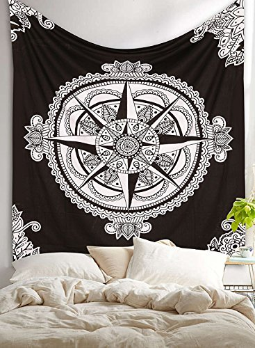 Aakriti Gallery Hippie-Wandteppich/-Tagesdecke im Mandala-/Boho-/Psychedelic-/Intricate-/Indien-Stil, 233,7x 208,3cm Kompass