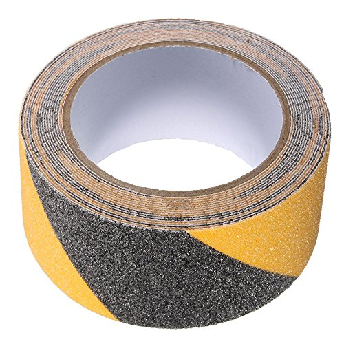BigTron 5cm x 5m Boden Sicherheit Non-Skid-Band Anti-Rutsch-Kleber Warning-Strip-Aufkleber(Schwarz und Gelb) -