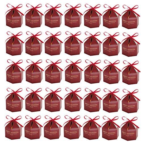 ACMEDE 35pcs Wedding Favors Geschenkboxen Handwerk Papier Hochzeit Geschenkbox für Süßigkeiten Süßigkeiten mit Bändern Ideal für Süßigkeiten, Pralinen, Schmuck und kleine Geschenke