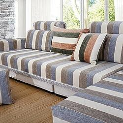 Protector de vinilo sofá rayas,Algodón Simple moderno Cuatro estaciones Toalla de sofá aplicable Toalla brazo Fundas de sofá chaise en forma de l-Gris Toalla de respaldo 80x80cm(31x31inch)