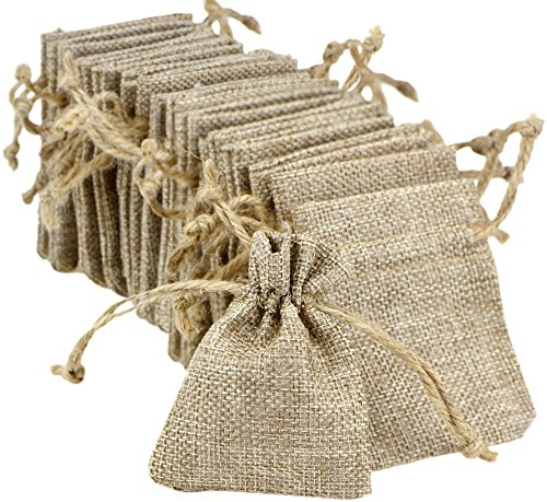 FiveSeasonStuff Burlap Bags Drawstring, Hessian Jute Wedding Favours Gift Bags, Jewellery Birthday Party Baby Shower Arts & Crafts Gift Wrapping Candy DIY Pouches (7cm x 9cm) Small — Pack of 30