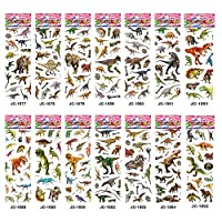 VEYLIN 14 Sheets Dinosaur Stickers for Kids, 220 Pcs+ Different Dinosaur Stickers for Dinosaur Party Supplies Favors, Birthday Party Supplies, Reward Stickers