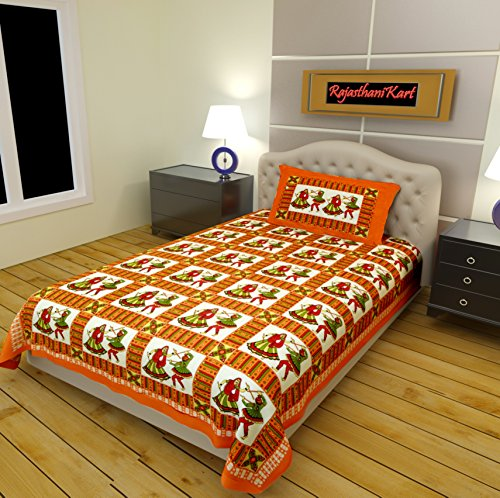 RajasthaniKart Premium 144 TC Cotton Single Bedsheet with Pillow Cover -Multicolor