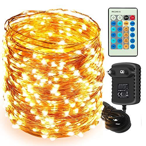 50M LED Lichterkette, Moobibear 500 LED Kupferdraht Lichterkette Warmweiß mit Fernbedienung IP65 Wasserdicht Weihnachtsbeleuchtung Innen und Aussen für Weihnachten, Hochzeit, Party, Zuhause, Fenster