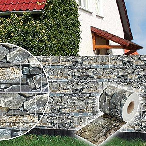 Dazone® PVC Sichtschutzstreifen Zaunfolie blickdicht inkl. 30 x Befestigungsclips 19 cm x 70 m (Stein-Optik)