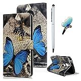 Motorola Moto E5 Play Hülle Leder Flip Wallet Case Cover Tasche Stoßdämpfend Handyhülle Handyschale Brieftasche Ständer Etui Magnetverschluß Kreditkartenfach Book Schutzhülle Klappcase Schmetterlinge