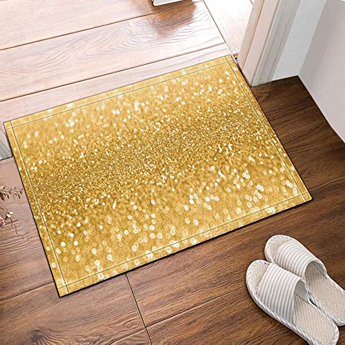 hdrjdrt Tappeti da Bagno con Paillettes Color Oro Tappetini Antiscivolo Tappetino da Bagno per Esterno Tappetino da Bagno per Esterno Tappetino da Bagno 60X40CM