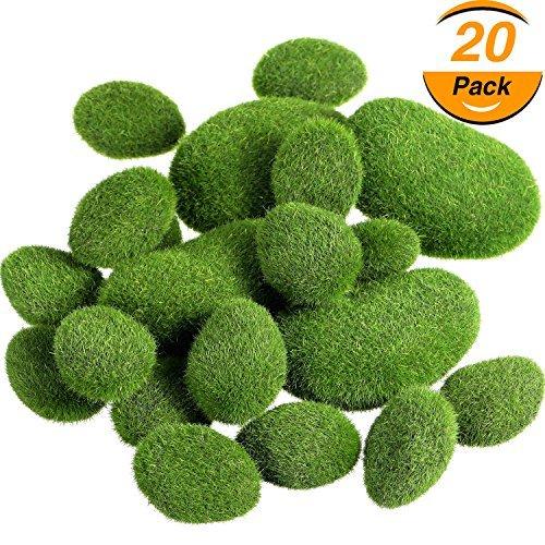 Faux Zwei Stück (tecunite 20Stück 2Größen Künstliche Moos Rocks Dekorative Faux grün moos verdeckt Steine)