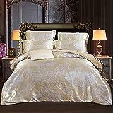Bettdecken Europäischer Stil Satin Jacquard Baumwolle Seide 4 Sätze Bettwaren (1 Bettbezug + 1 Bettlaken + 2 Kissenbezüge) Tagesdecke Schlafzimmer High-Density Bettwäsche (220x240cm, Hellbraun)