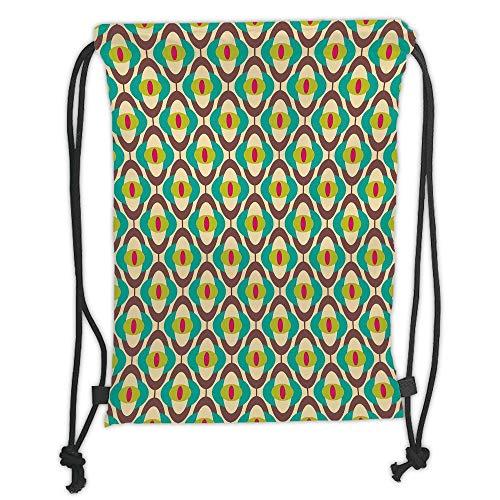 LULUZXOA Gym Bag Printed Drawstring Sack Backpacks Bags,Vintage,Groovy Bauhaus Design Art Motifs Funky Geometric Minimalist Retro Unusual Tile,Th -