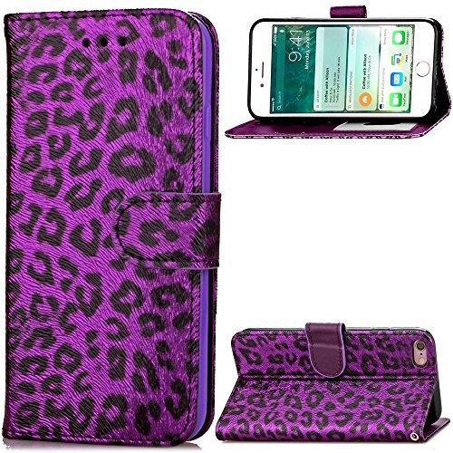 EKINHUI Case Cover Für Apple IPhone 6 6s Fall-Abdeckung, Leopard-Muster-Schlag-Standplatz PU-lederner Kasten mit Halter u. Mappen-Karte Bargeld-Schlitze u. Foto-Rahmen ( Color : Rose ) Purple