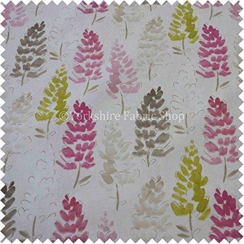 Lupin Blumen Plan Muster Braun Grün Rosa Sorbet Farbdruck Baumwolle Stoff Vorhänge Polsterstoff - Britisches Design 551 (Vorhang Polsterstoff)