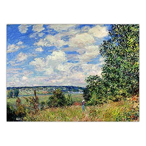 LKYH Dekoration Kunst Wandbilder für Wohnzimmer Poster Drucken Leinwand Gemälde Französisch Alfred Sisley Landschaft -60cm*90cm(Rahmenlos) -