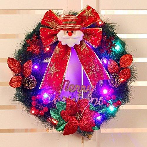 UChic 40 CM/16 Zoll Glow Licht Kranz Girlande Batteriebetriebene Frohe Weihnachten Weihnachtsmann Fenster T�r Anh�nger Dekoration Bowknot Ornament Xmas Party Decor Bei Muster nach dem zufall
