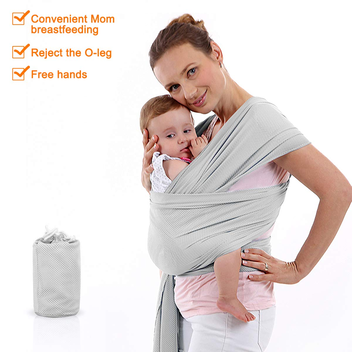 Fruiteam Baby Sling Cool And Breathable Baby Wrap For Summer Perfect Baby Carrier Wrap For Parent To Nurse Newborn One Size Fit All Exllent Infant