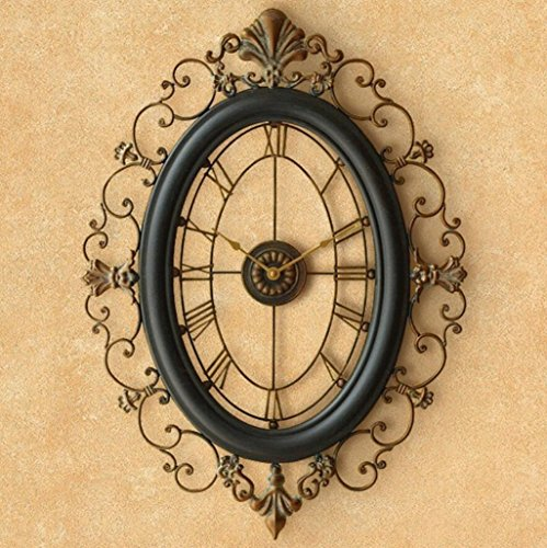 Bonne action Horloge murale Style Européen Horloge Murale Horloge Salon De Luxe Fer Horloge Murale Créative Rétro Horloge Horloge Décorative Mur Graphiques Mute Personnalité