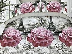 Idea Regalo - GoldenHome Set Lenzuola Matrimoniale 4 Pezzi in Microfibra - Stampa 3D - Modello Parigi