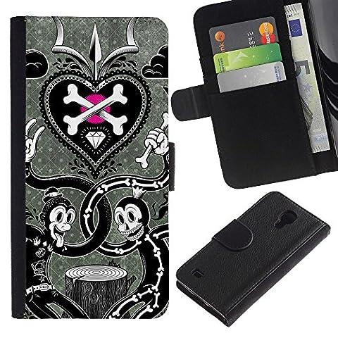 For SAMSUNG Galaxy S4 IV / i9500 / i9515 / i9505G / SGH-i337,S-type® Scull Crossbones White Black Metal - Dessin PU cuir Wallet style Skin Cas Case Coque étui de protection