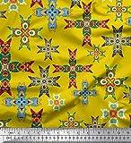 Soimoi Gelb Samt Stoff Fliesen marokkanisch Stoff Drucke