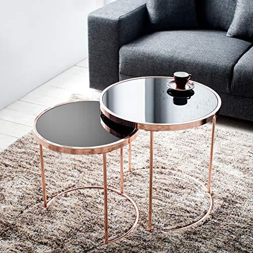 cagü: Design 2er Set Beistelltische [SATURNUS] Schwarz Glasplatte mit Kupfergestell 51cm/45cm Höhe Art Deco -