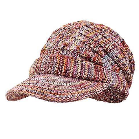 Kenmont Frauen-Dame-Mädchen-Winter Earflap Acryl Hand Knit Visor Hat Beret Cap (Earflap Knit Cap)