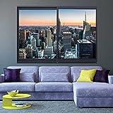 murando - 3D WANDILLUSION 140x100 cm Wandbild - Fototapete - Poster XXL - Fensterblick - Vlies Leinwand - Panorama Bilder - Dekoration - Stadt City New York Panorama